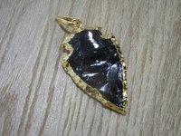 Black Agate Gold Pendant