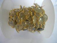 Gold Plated Black Rutile Bezel Station Chain