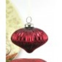 Hanging Diamond Shaped Glass Ornament Red