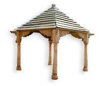 Wooden Carved Four Pillars Gazebo