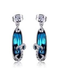 Drop Style Rhodium Blue Earrings Made With Swarovski Elements