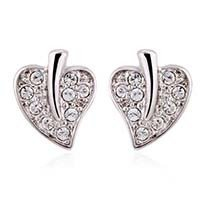 Silver Leaves Ear Studs Made With Swarovski Elements