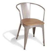 Tolix Chair With Arms And Wooden Seat