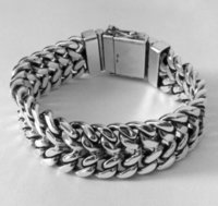 Double Curb Chain Silver Bracelet