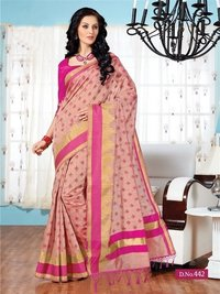 Pink Fancy Cotton Printed Saree With Blouse