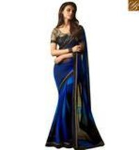 Blue Georgette Designer Saree With Black Embroidered Blouse