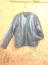 Trendy Sporty Black Leather Jacket