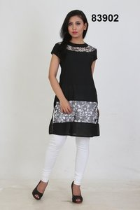 Cotton With Printed Net Short Kurti