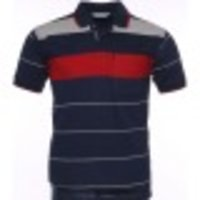 Blue T Shirt With Grey And Red Strip