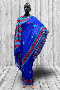 Blue Phulkari Saree