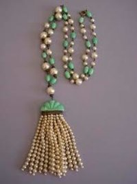 French Green Glass Artificial Pearl Necklace