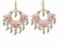 Latest Designer Jaipur Minakari Pink Artificial Earrings