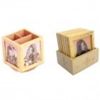 Combo Of Revolving Pen Stand & Gemstone Painting Wooden Tea Coaster