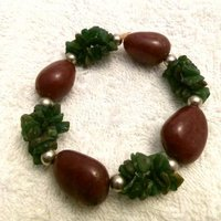 Jade Green And Brown Stone Bracelet
