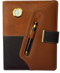 Brown Foam Lock Executive Diary With Pen Clock And Calculator