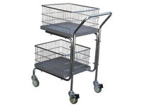 Steel Construction Double Tray And Double Basket Mail Cart