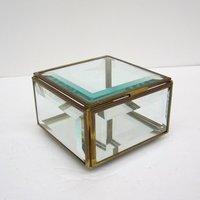 Square Brass Glass Jewellery Box