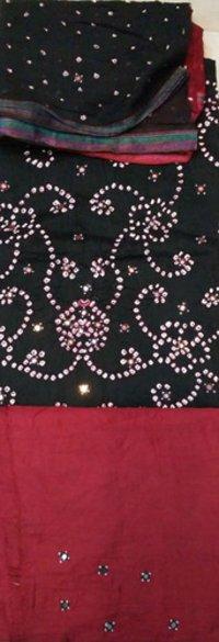 Mirror Work Cotton Silk Blend Salwar Suit Dupatta