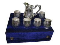 Silver Plated Brass Glass Set With Jug