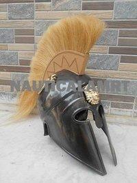 Greek Corinthian Helmet With Yellow Plume