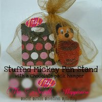 Stuffed Mickey Mouse Pen Stand And Chocolate Bag Hamper