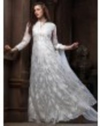 White Colored Net Embroidered Wedding Semi Stitched Gown With Dupatta