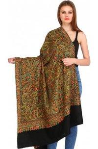 Phantom-Black Kashmiri Pure Pashmina Shawl With Papier Mache