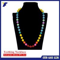 Large Flat Homemade Beads Silicone Teething Necklace