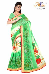 Print With Boarder Work Saree