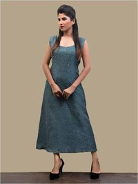 Ladies Organic Teal A Line Dress With Sequins