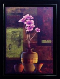 Colored Floral Painting With Frame