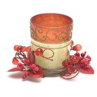 Red Tea Light Candle Wax Glass Cup Flower