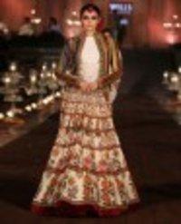 Floral Printed Lengha Set With Velvet Jacket