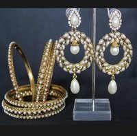 Pearl Earrings With Variant Bangles
