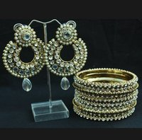 Stone Studded Earrings And Bangles White