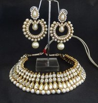 Super Elegant Pearl Earrings With Pearl And Stone Studded Necklace