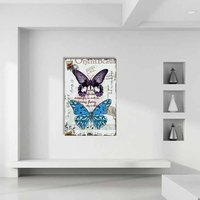 Abstract Purple Blue Butterfly Wall Painting