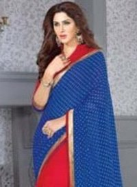 Dark Blue Color Chiffon Designer Sarees (Wa0034)