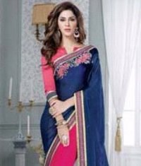 Pink And Blue Color Designer Sarees (Wa0030)