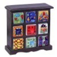 Multipurpose Storage Blue Pottery Boxes With Wooden Closet