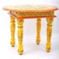 Wooden Handpainted Round Folding Coffee Table