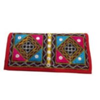 Ethnic Traditional Kutch Handicraft Red color Purse with Afghan Mirror Work