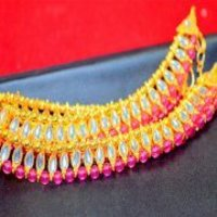 Golden Color Anklets With Pink Color Stone Payal
