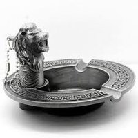 Uniquely Designed And Shaped Metal Ashtray Lion Encarved