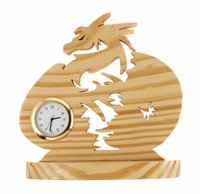 Dragon Shaped Wooden Table Clock