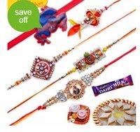 Stones Zardozi Wooden Beads Five Pieces Rakhi Set