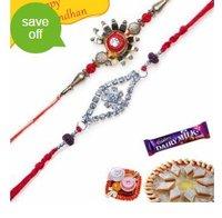 Two Premium Zardozi Beads And Stones Rakhi Set