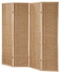 Folding Natural Finish Wooden 4-Panel Screen