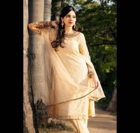 cce710b7a9 BEIGE WITH COPPER EMBROIDERED KURTA SET, PINK PUNJABI SUIT