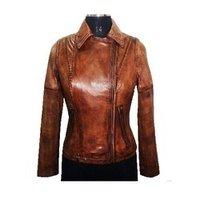Ladies Lamb Satin Leather Jacket